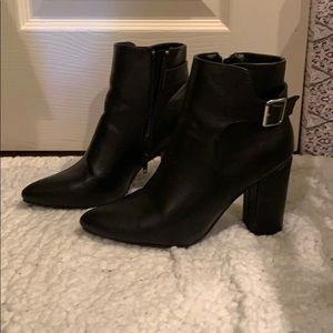 Cute leather ankle heeled boots